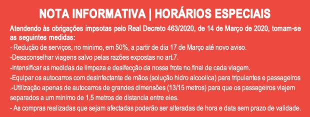 NOTA INFORMATIVA | HORÁRIOS ESPECIAIS